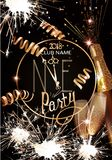 New year eve invitation card with glasses and bottle of champagne, sparklers and serpentine. Royalty Free Stock Photos