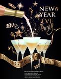 New year eve invitation card with glasses with champagne and christmas decorations. Gold and black. Vector illustration Royalty Free Stock Photos