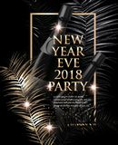 New year eve Party invitation card with christmas tree branches. Gold and black. Vector illustration Royalty Free Stock Photo