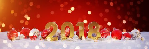 2018 new year eve with christmas baubles and candles 3D renderin. 2018 new year eve with red and white christmas baubles and candles 3D rendering Stock Photo