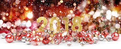 2018 new year eve with christmas baubles 3D rendering. 2018 new year eve with red and white christmas baubles 3D rendering Stock Images