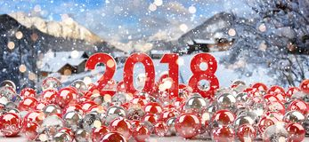 2018 new year eve with christmas baubles 3D rendering. 2018 new year eve with red and white christmas baubles 3D rendering Royalty Free Stock Images