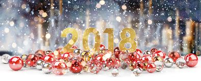 2018 new year eve with christmas baubles 3D rendering. 2018 new year eve with red and white christmas baubles 3D rendering Royalty Free Stock Photos