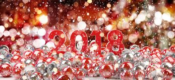 2018 new year eve with christmas baubles 3D rendering. 2018 new year eve with red and white christmas baubles 3D rendering Stock Photo