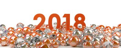 2018 new year eve with christmas baubles 3D rendering. 2018 new year eve with red and white christmas baubles 3D rendering Stock Photos
