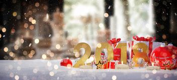 2018 new year eve with christmas baubles and gifts 3D rendering. 2018 new year eve with red and white christmas baubles and gifts 3D rendering Stock Images