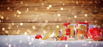 2018 new year eve with christmas baubles and gifts 3D rendering. 2018 new year eve with red and white christmas baubles and gifts 3D rendering Royalty Free Stock Image