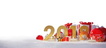 2018 new year eve with christmas baubles and gifts 3D rendering. 2018 new year eve with red and white christmas baubles and gifts 3D rendering Royalty Free Stock Images