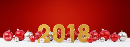 2018 new year eve with christmas baubles lined up 3D rendering. 2018 new year eve with red and white christmas baubles on snow background 3D rendering Stock Images