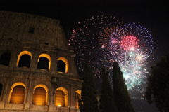New year Eve in Rome, Fireworks at colosseum Royalty Free Stock Image