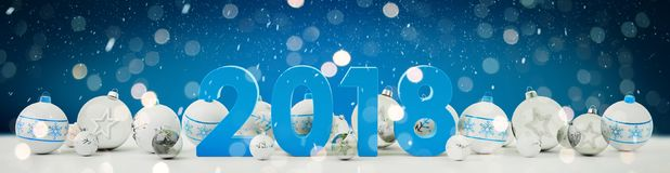 2018 new year eve with christmas baubles lined up 3D rendering. 2018 new year eve with white and blue christmas baubles on snow background 3D rendering Stock Images