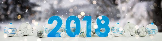 2018 new year eve with christmas baubles lined up 3D rendering. 2018 new year eve with white and blue christmas baubles on snow background 3D rendering Stock Photos