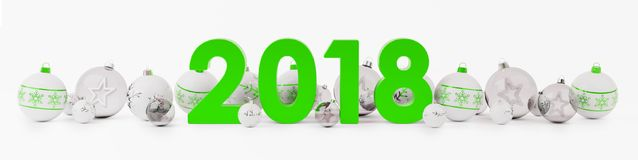 2018 new year eve with christmas baubles lined up 3D rendering. 2018 new year eve with white and green christmas baubles on snow background 3D rendering Royalty Free Stock Images