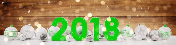 2018 new year eve with christmas baubles lined up 3D rendering. 2018 new year eve with white and green christmas baubles on snow background 3D rendering Stock Images