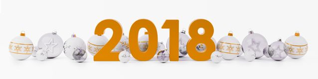 2018 new year eve with christmas baubles lined up 3D rendering. 2018 new year eve with white and orange christmas baubles on snow background 3D rendering Royalty Free Stock Photo