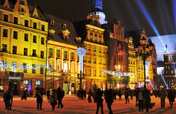 New Year Eve in Wroclaw. Image was taken on the marketplace in 31.12.2010, during the celebration of the new year. People are going on concert and dance though Royalty Free Stock Photography