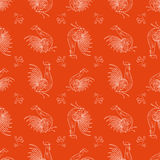 New Year Fantasy Roosters. New Year Fantasy Rooster,  seamless pattern on red backdrop Royalty Free Stock Photo