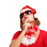 New year fashion. Young woman in new year or christmas suit and glasses smiling isolated on white background Royalty Free Stock Photo