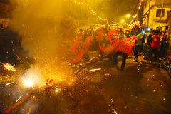 New Year Festival. Make a display of fireworks on a road at the eve of the New year night. After the second World War Chinese community are situated in Kolkata Royalty Free Stock Image