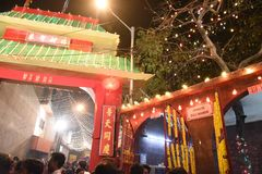 New Year Festival. People gathering at china town of Tangra near Kali temple during New year night. After the second World War Chinese community are situated in Royalty Free Stock Image