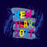 New Year. Festive banner or poster with a hand written with colorful letters the phrase new year. Vector illustration. 2017 Stock Images