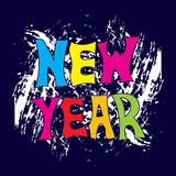 New Year. Festive banner or poster with a hand written with colorful letters the phrase new year. Vector illustration Royalty Free Stock Photo