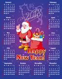 New year, festive calendar for 2018. Calendar on a blue background. Santa Claus with gifts. The year of the earth dog. Vector illustration Royalty Free Stock Images