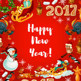 New Year festive poster design Stock Photos