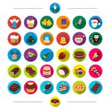 New year festivities and other web icon in cartoon style. New year festivities and other  icon in cartoon style. Treats dessert sweetness icons in set Royalty Free Stock Photos