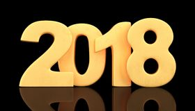 2018 new year figures on black background. 3d rendering. Golden 2018 new year figures on black background. 3d rendering Royalty Free Stock Photos