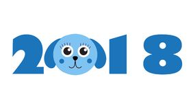 New Year 2018 figures with cute puppy, dog, isolated on white background. Vector illustration. Royalty Free Stock Images