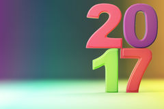 2017 new year figures on gradient background. 3d rendering Royalty Free Illustration