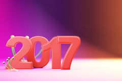 2017 new year figures on gradient background. 2017 new year figures with fantasy plants on gradient background Royalty Free Stock Images