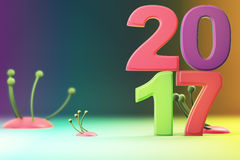 2017 new year figures on gradient background. 2017 new year figures with fantasy plants on gradient background Stock Photo