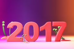 2017 new year figures on gradient background. 2017 new year figures with fantasy plants on gradient background Royalty Free Stock Photos