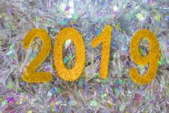 New year 2019 figures. Holiday of Christmas royalty free stock photography
