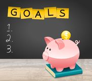 New Year Financial Goals List With Dollar Coin and Piggy Bank. New Year Financial Goals List On Blackboard With Dollar Coin and Piggy Bank vector illustration
