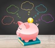 New Year Financial Goals Speech Bubble With Dollar Coin and Piggy Bank. New Year Financial Goals Speech Bubble On Blackboard With Dollar Coin and Piggy Bank vector illustration