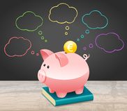 New Year Financial Goals Speech Bubble With Euro Coin and Piggy Bank. New Year Financial Goals Speech Bubble On Blackboard With Euro Coin and Piggy Bank stock illustration