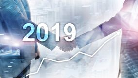 New year 2019 Financial growth graph on blurry business background.  stock illustration