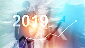 New year 2019 Financial growth graph on blurry business background. New year 2019 Financial growth graph on blurry business background stock illustration