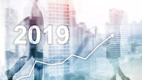 New year 2019 Financial growth graph on blurry business background. New year 2019 Financial growth graph on blurry business background royalty free stock photo