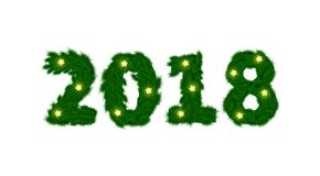 New Year 2018 of fir branch and light garland on white background..  Stock Images