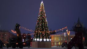New year fir tree on city square stock footage
