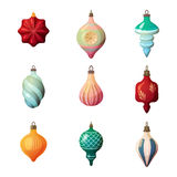 2017 new year fir-tree glass different shape bauble. Merry christmas or xmas eve round and star,icicle and striped Royalty Free Stock Photography