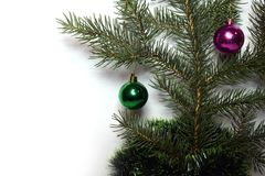 Happy new year and Christmas. New year fir tree green happy new year Royalty Free Stock Photography
