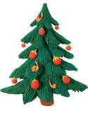 New year fir tree from plasticine. A green fir-tree is decorated marbles Stock Photos