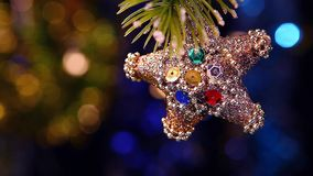 Fir tree with ornament stock footage