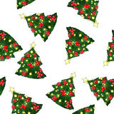 New Year Fir-tree watercolor Seamless Pattern Royalty Free Stock Image