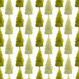 New year fir trees seamless patten. Watercolor print for Christmas design. Wrapping paper. New year fir trees seamless patten. Watercolor print for Christmas Royalty Free Stock Photos